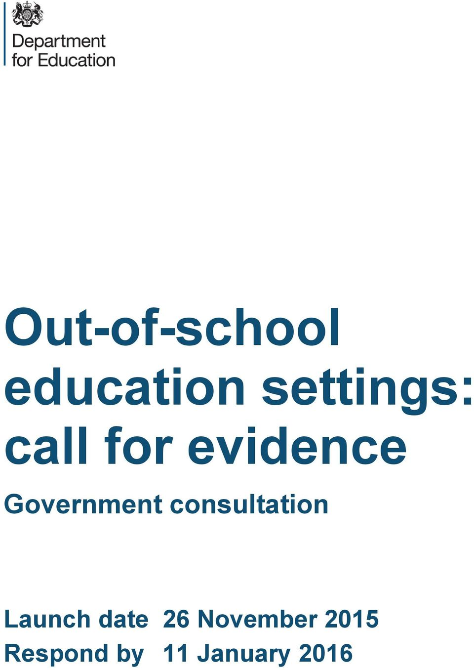 Government consultation Launch