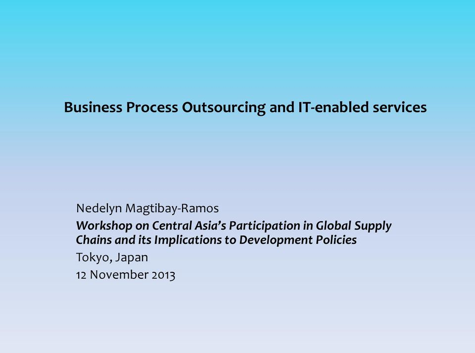 Participation in Global Supply Chains and its