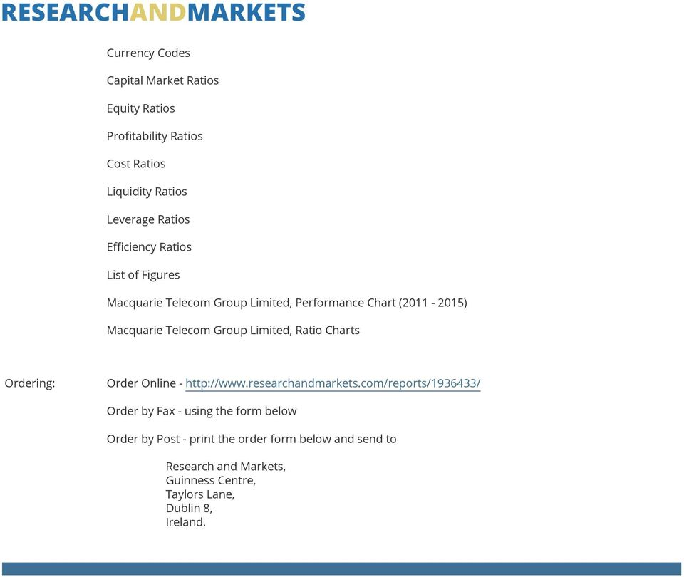 Limited, Ratio Charts Ordering: Order Online - http://www.researchandmarkets.