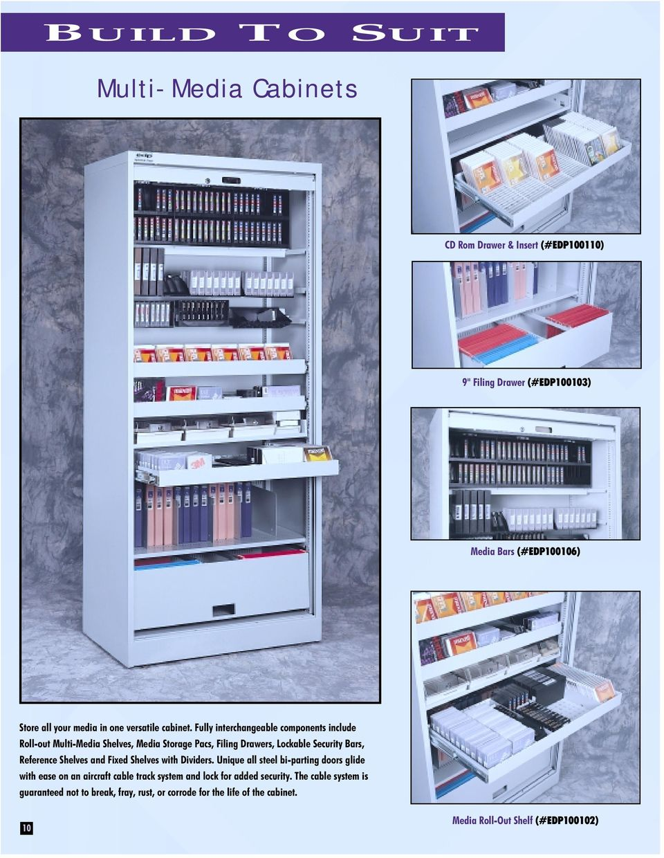 Fully interchangeable components include Roll-out Multi-Media Shelves, Media Storage Pacs, Filing Drawers, Lockable Security Bars, Reference Shelves