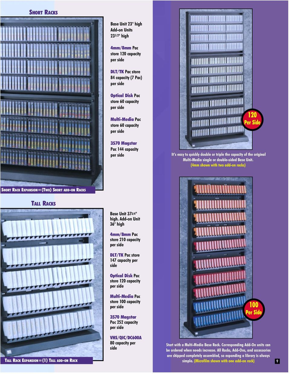 "(4mm shown with two add-on racks) SHORT RACK EXPANSION=(TWO) SHORTADD-ON RACKS TALL RACKS Base Unit 373/4"" high."