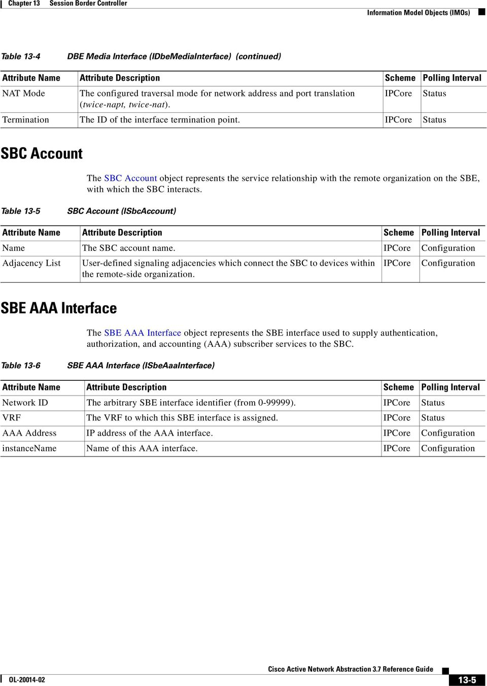 IPCore Status SBC Account The SBC Account object represents the service relationship with the remote organization on the SBE, with which the SBC interacts.