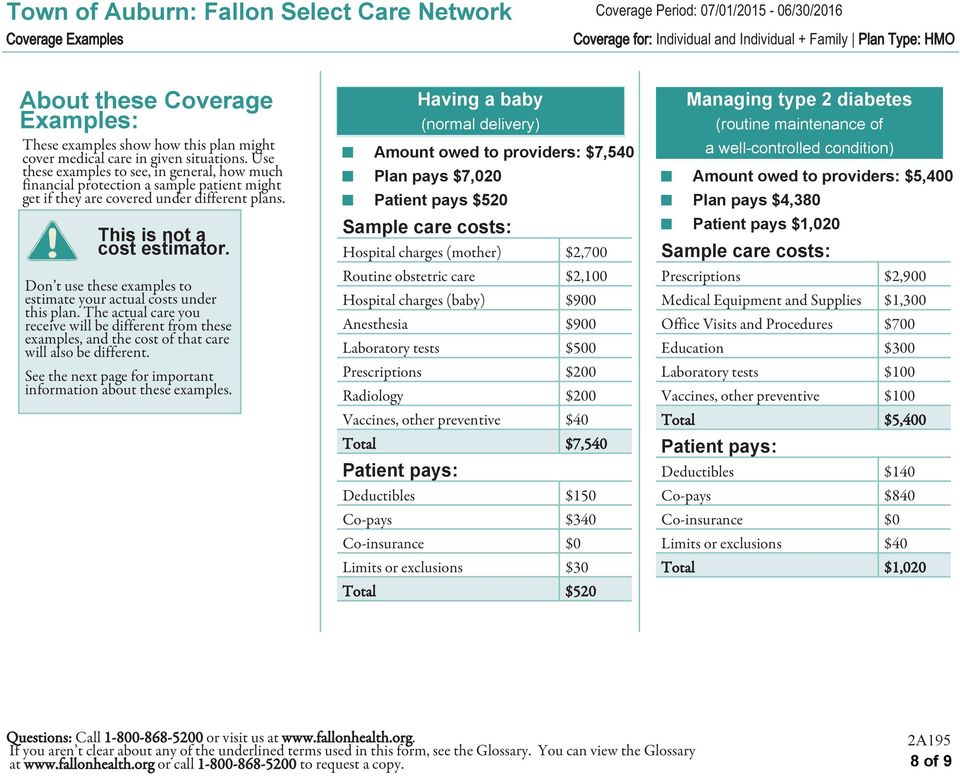 Don t use these examples to estimate your actual costs under this plan. The actual care you receive will be different from these examples, and the cost of that care will also be different.