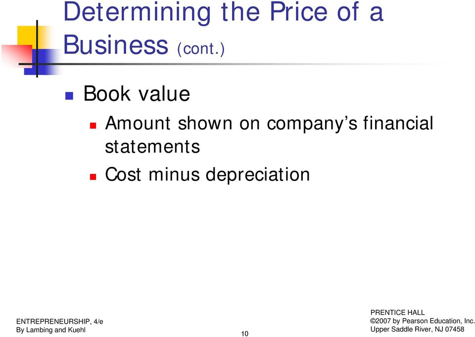 ) Book value Amount shown on