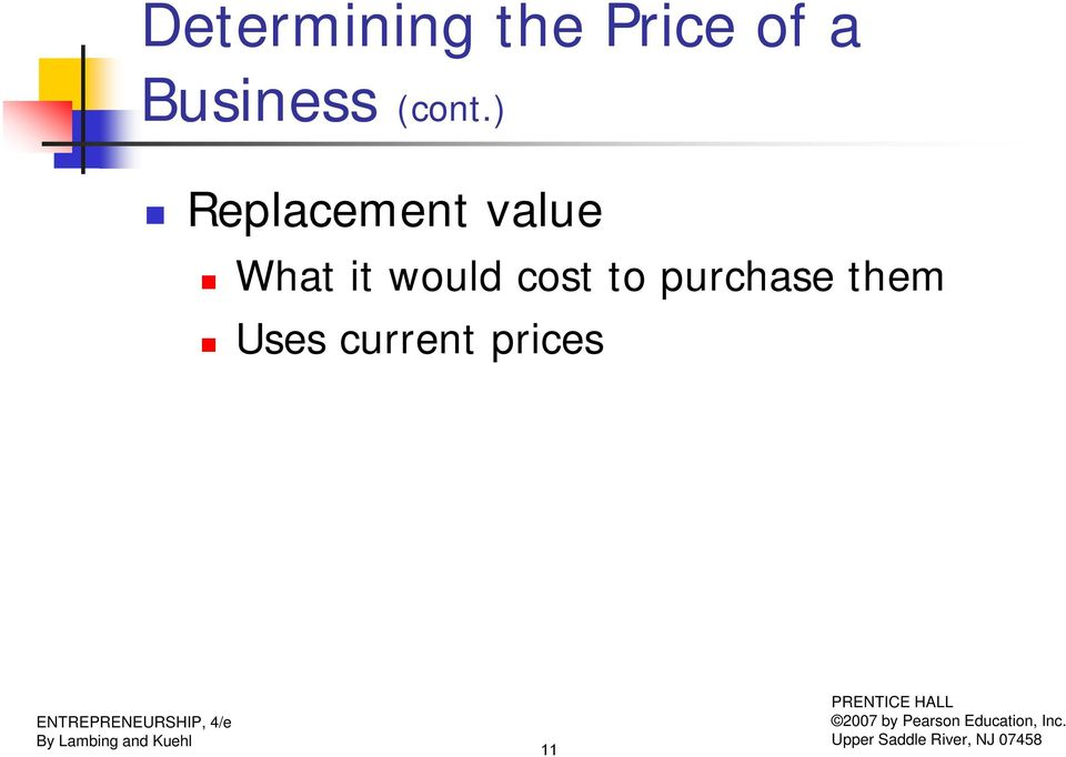 ) Replacement value What it