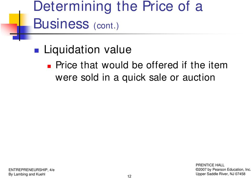 ) Liquidation value Price that