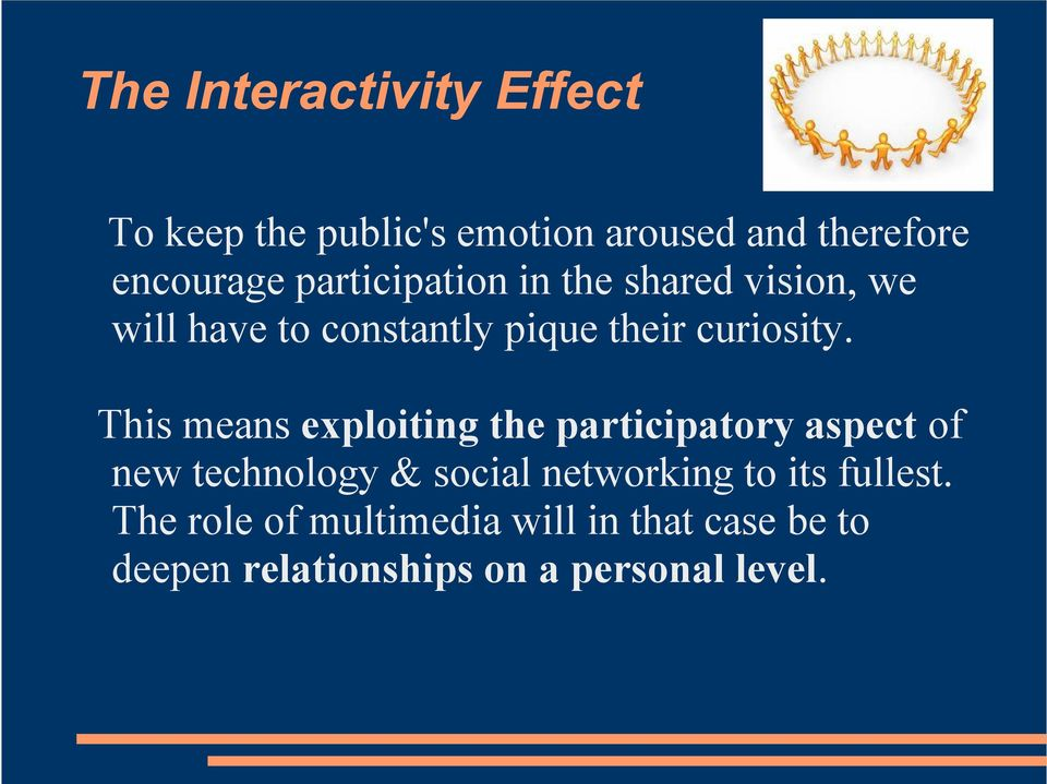 This means exploiting the participatory aspect of new technology & social networking to