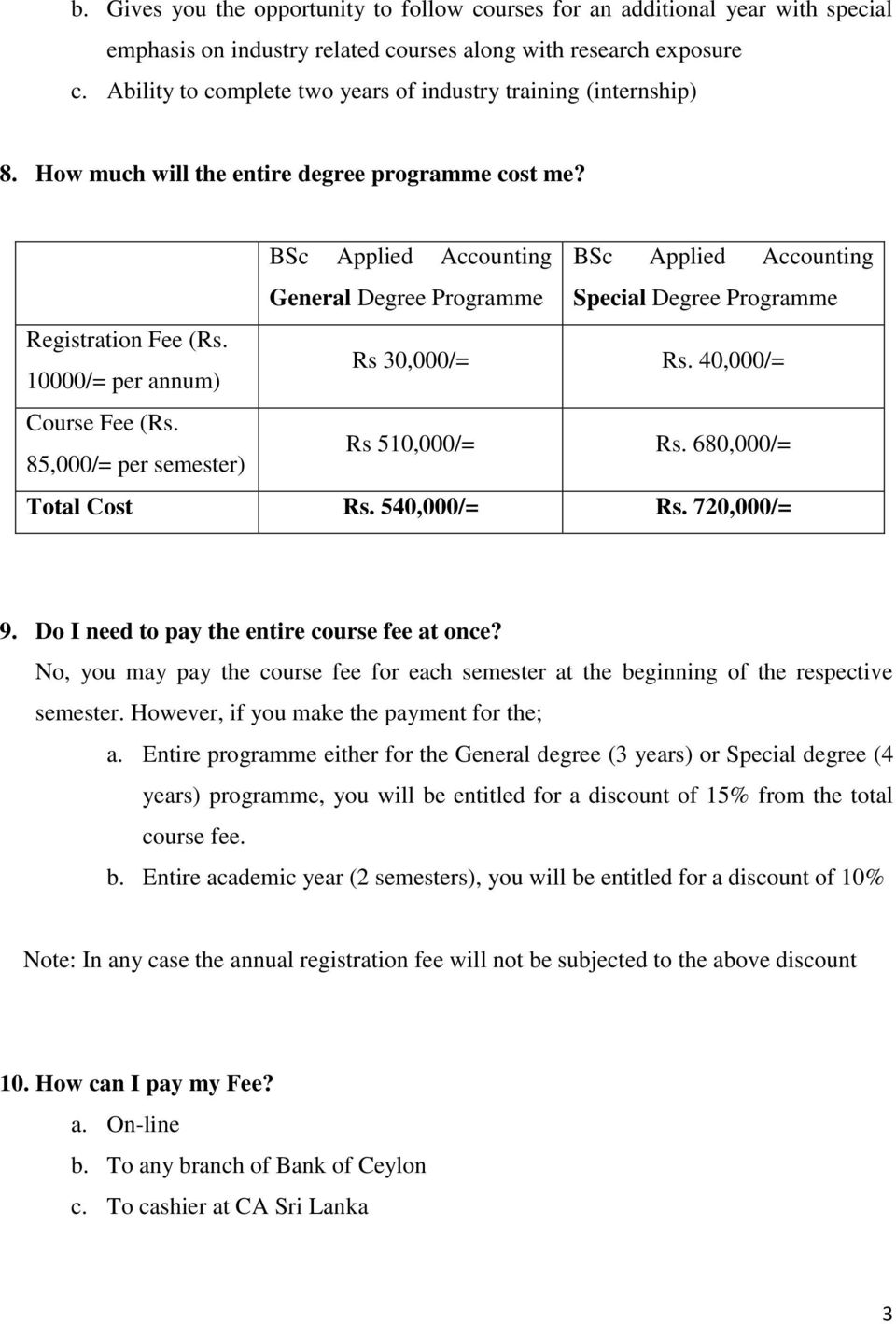 BSc Applied Accounting BSc Applied Accounting General Degree Programme Special Degree Programme Registration Fee (Rs. 10000/= per annum) Rs 30,000/= Rs. 40,000/= Course Fee (Rs.