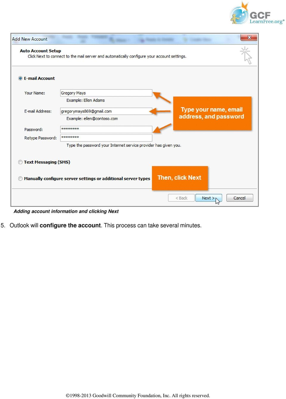 Outlook will configure the