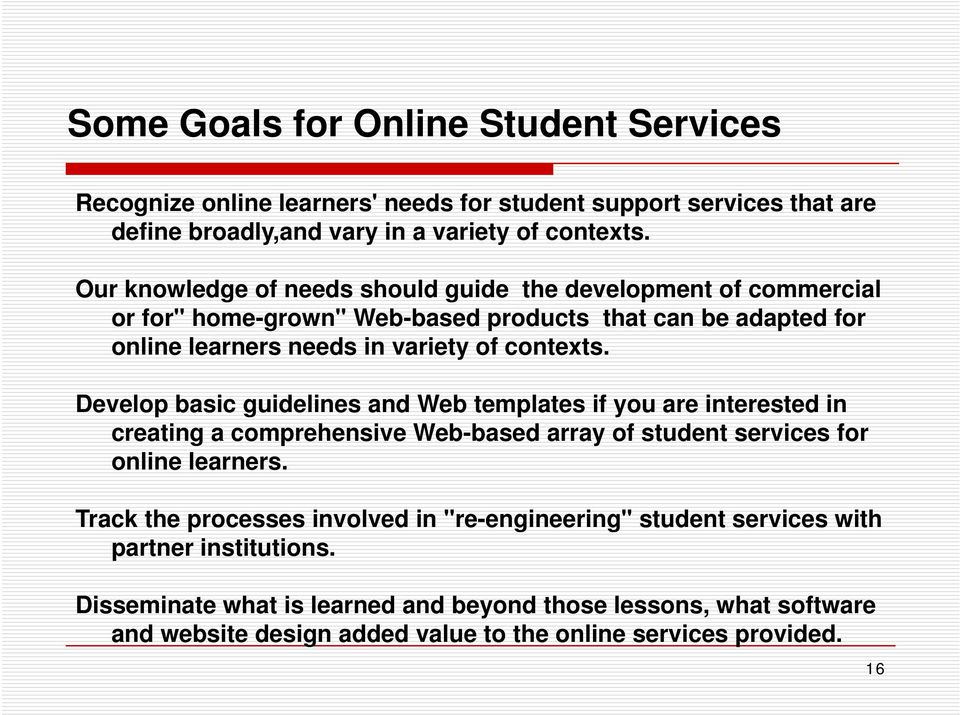 Develop basic guidelines and Web templates if you are interested in creating a comprehensive Web-based array of student services for online learners.