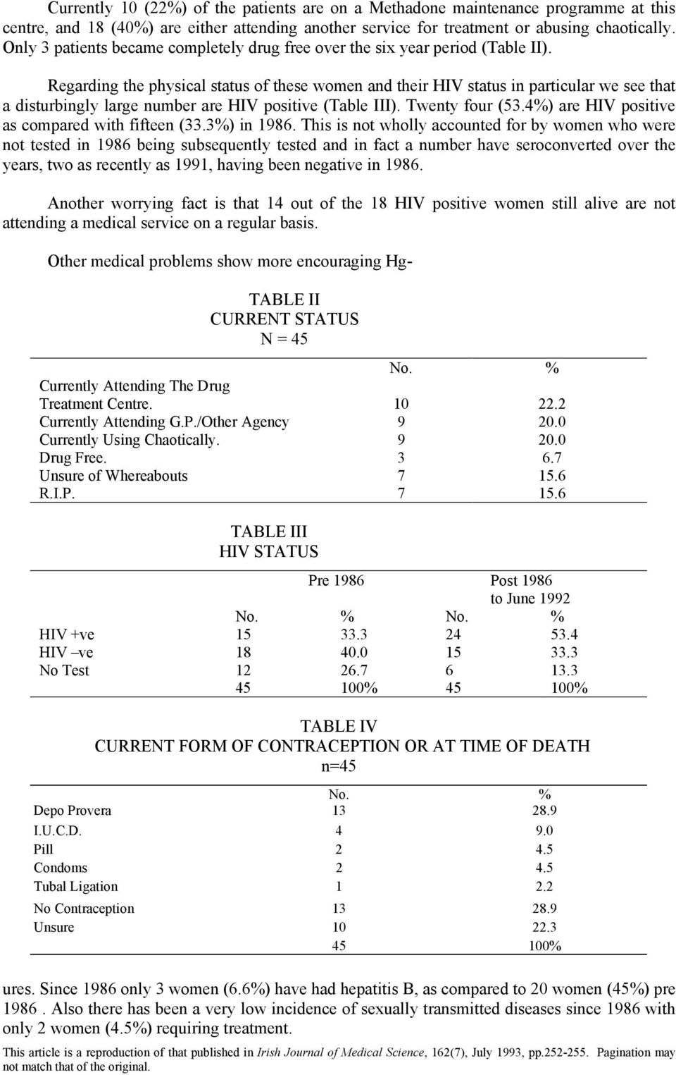 Regarding the physical status of these women and their HIV status in particular we see that a disturbingly large number are HIV positive (Table III). Twenty four (53.