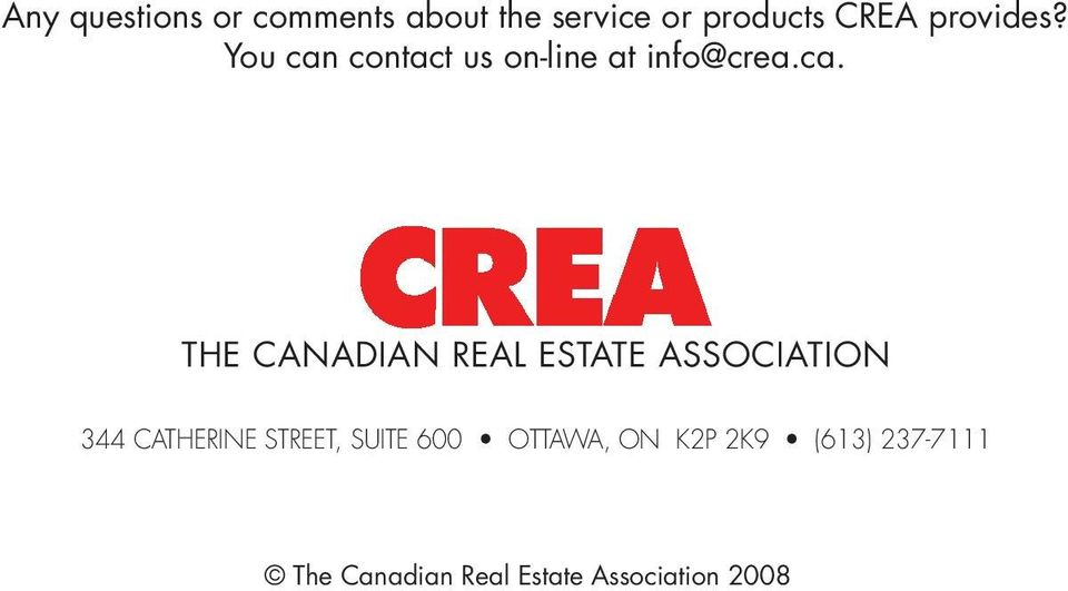 contact us on-line at info@crea.ca.