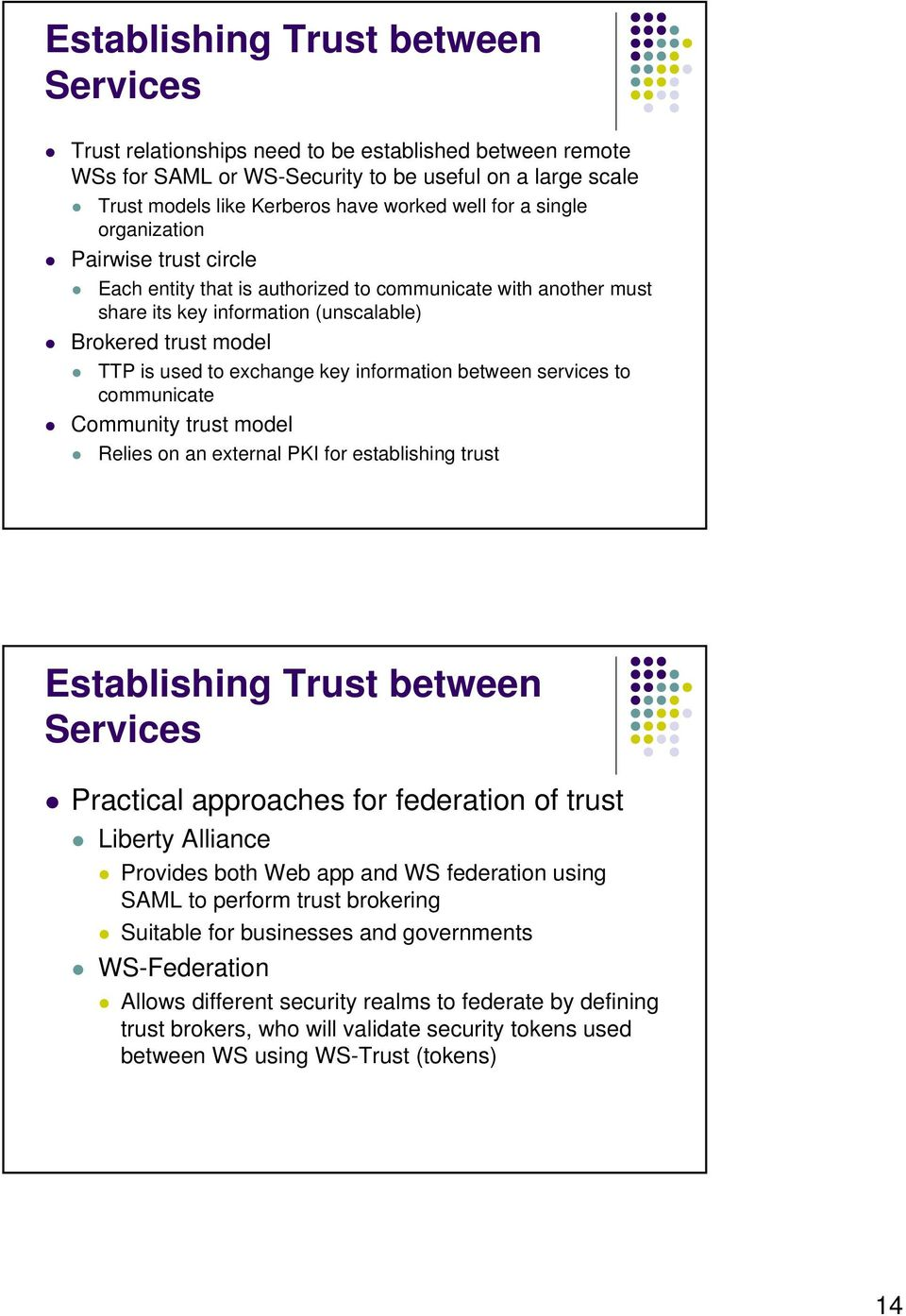 information between services to communicate Community trust model Relies on an external PKI for establishing trust Establishing Trust between Services Practical approaches for federation of trust