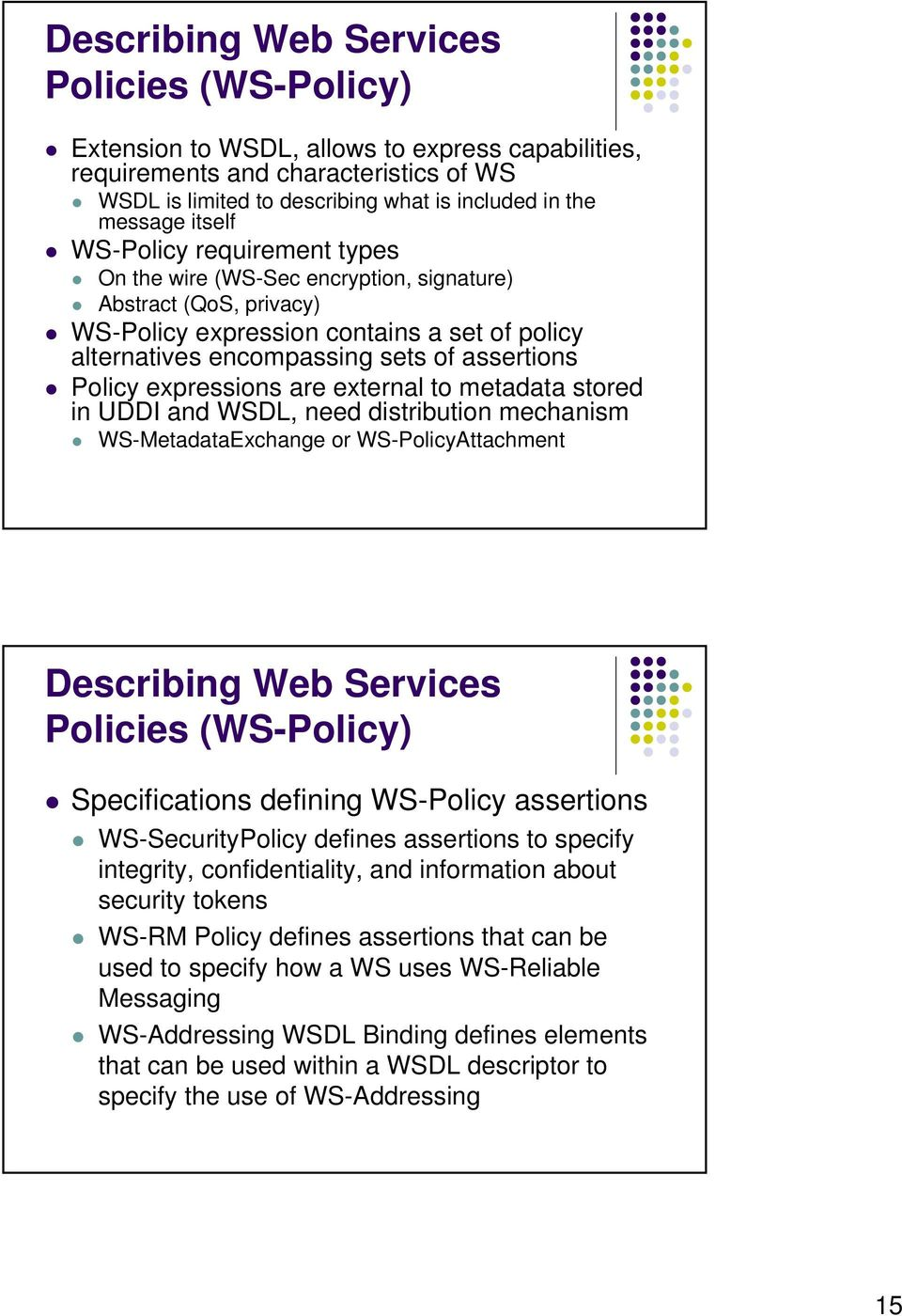 expressions are external to metadata stored in UDDI and WSDL, need distribution mechanism WS-MetadataExchange or WS-PolicyAttachment Describing Web Services Policies (WS-Policy) Specifications