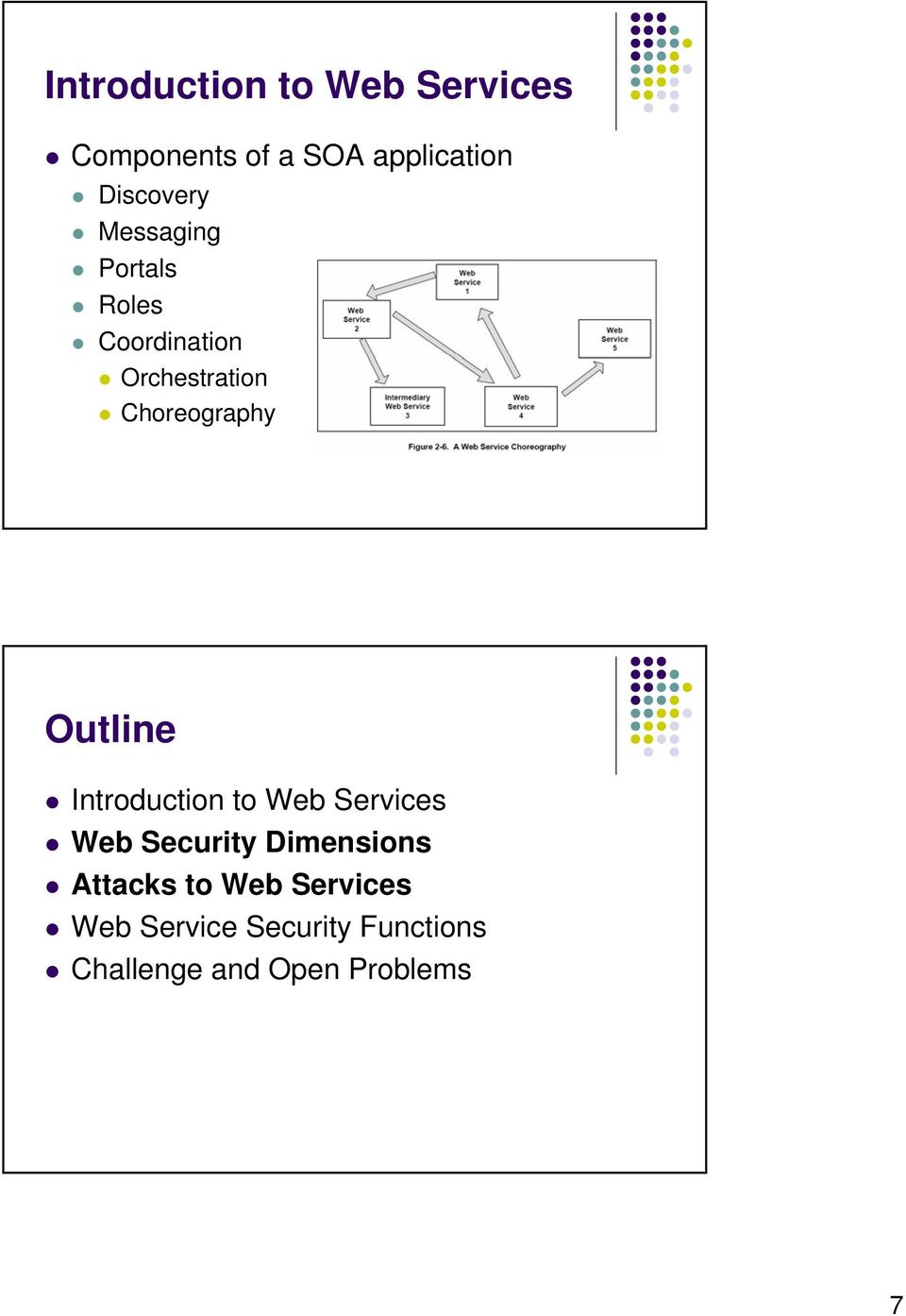 Choreography Outline Introduction to Web Services Web Security