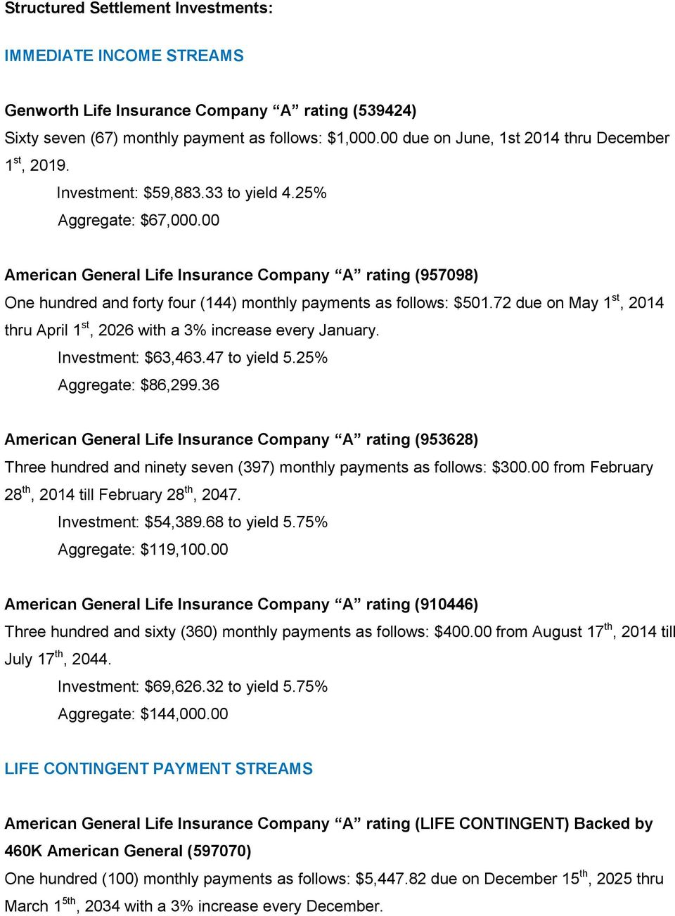 00 American General Life Insurance Company A rating (957098) One hundred and forty four (144) monthly payments as follows: $501.