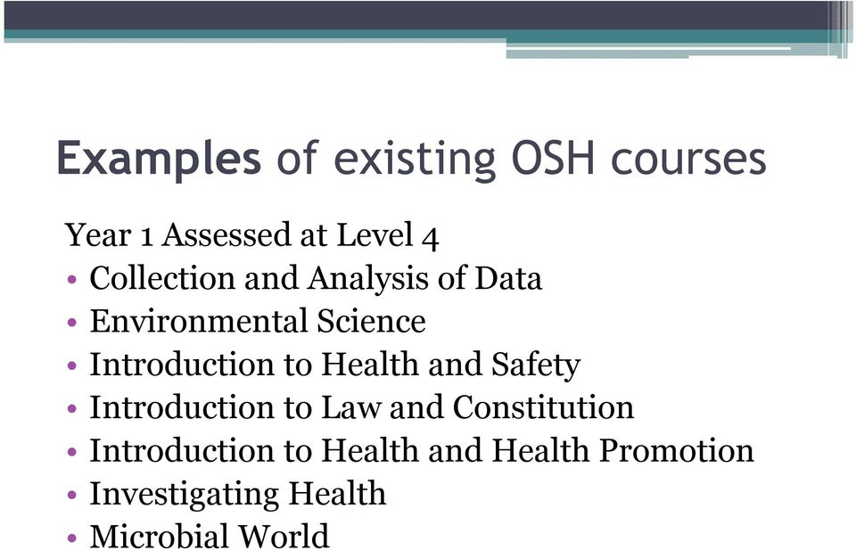 to Health and Safety Introduction to Law and Constitution
