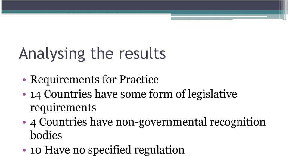 legislative requirements 4 Countries have