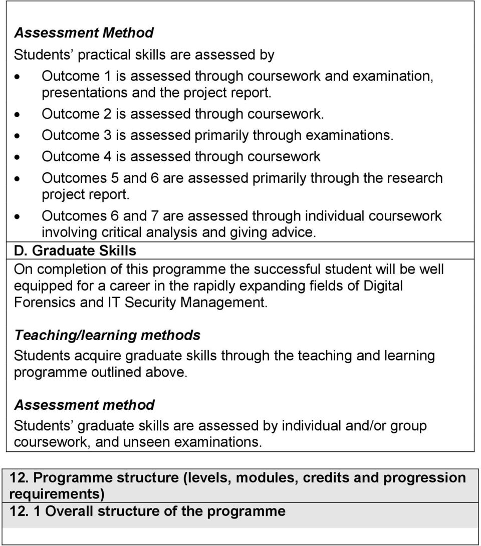Outcomes 6 and 7 are assessed through individual coursework involving critical analysis and giving advice. D.