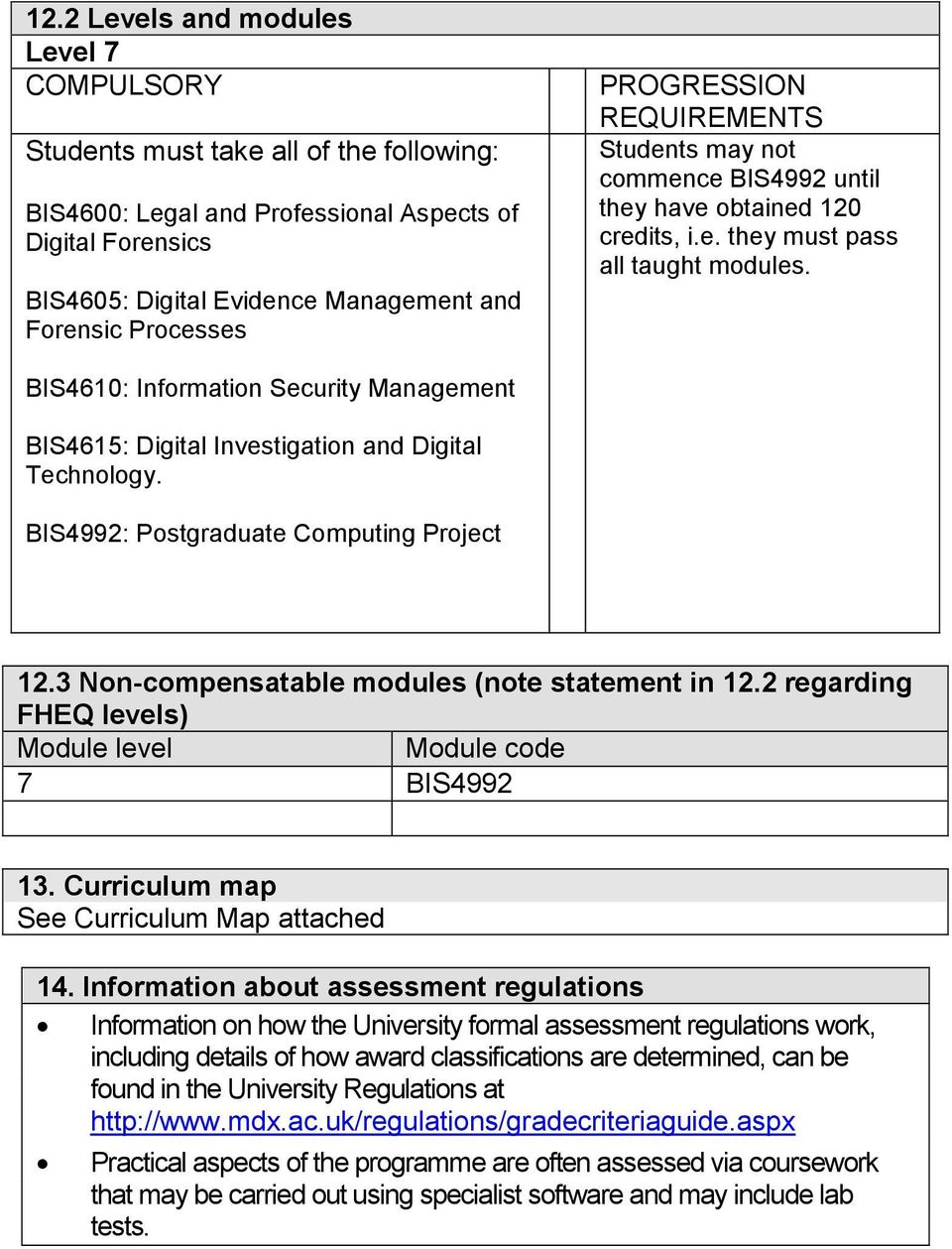 BIS4610: Information Security Management BIS4615: Digital Investigation and Digital Technology. BIS4992: Postgraduate Computing Project 12.3 Non-compensatable modules (note statement in 12.