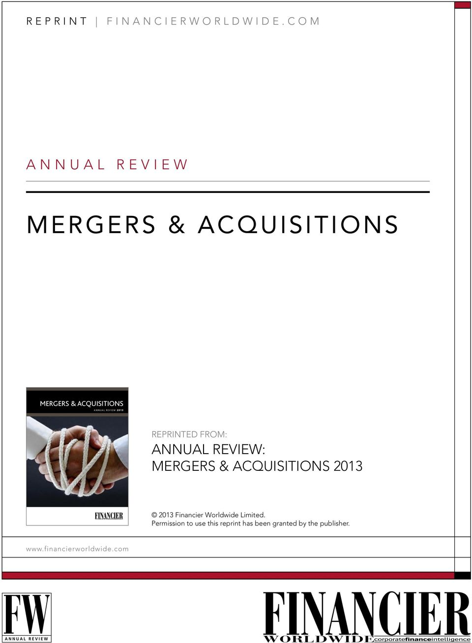 MERGERS & ACQUISITIONS 2013 2013 Financier Worldwide Limited.