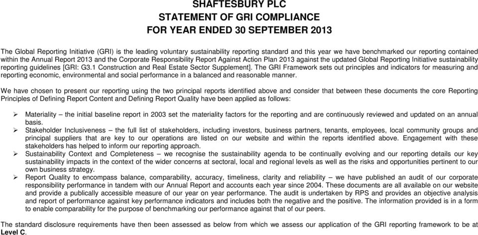 reporting guidelines [GRI: G3.1 Construction and Real Estate Sector Supplement].