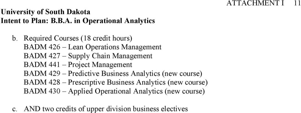 Chain Management BADM 441 Project Management BADM 429 Predictive Business Analytics (new