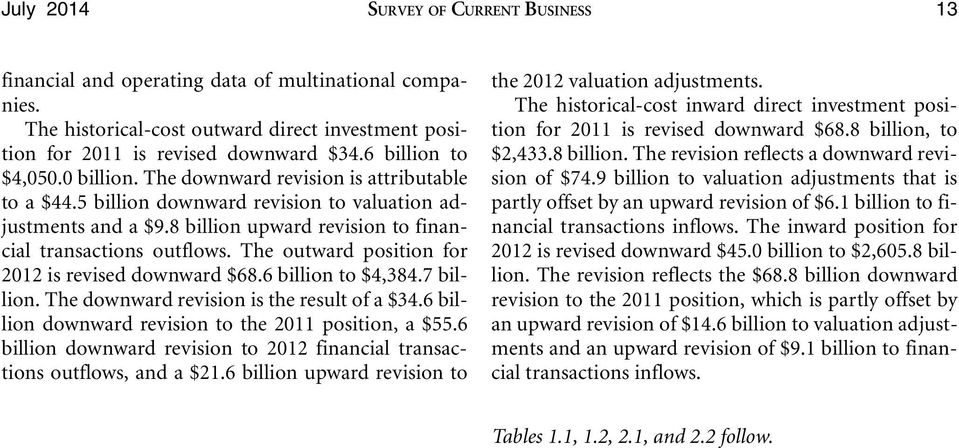 The outward position for 2012 is revised downward $68.6 billion to $4,384.7 billion. The downward revision is the result of a $34.6 billion downward revision to the 2011 position, a $55.