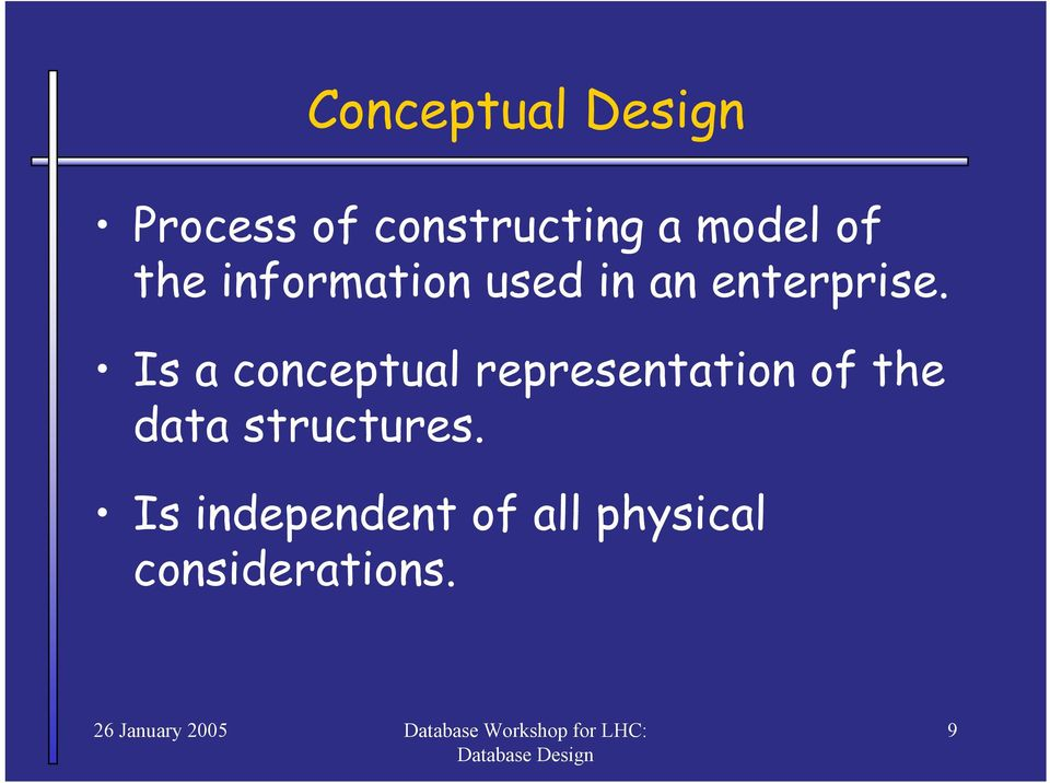 Is a conceptual representation of the data