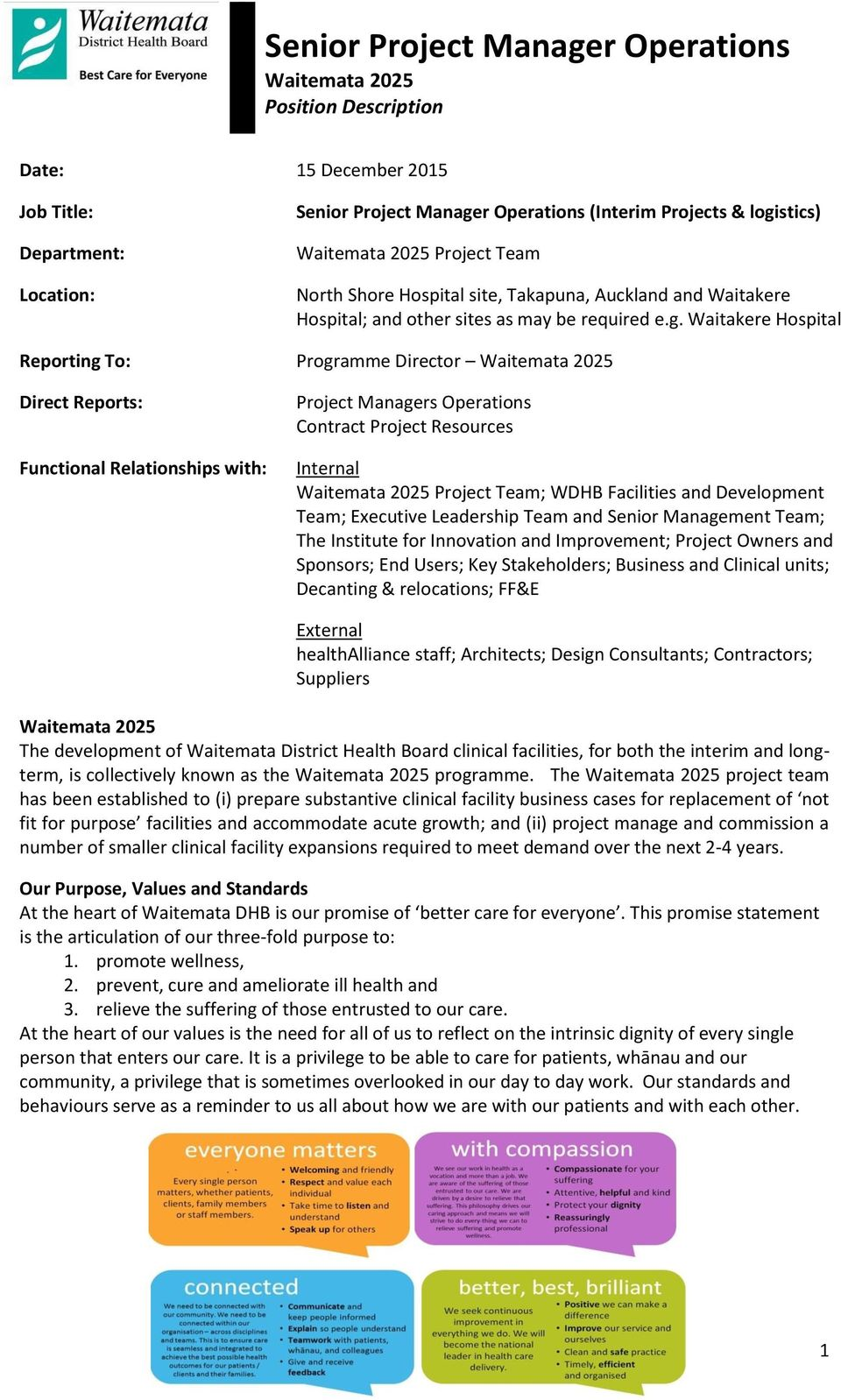 Waitakere Hospital Reporting To: Programme Director Direct Reports: Functional Relationships with: Project Managers Operations Contract Project Resources Internal Project Team; WDHB Facilities and