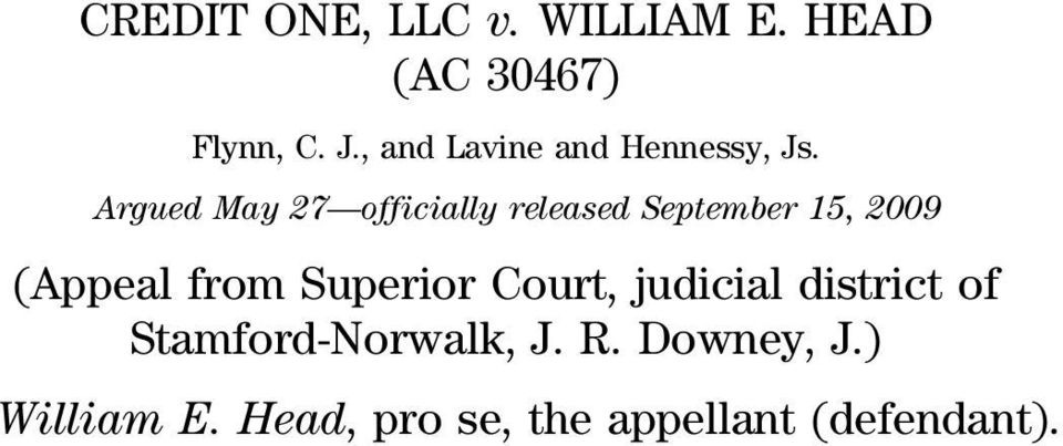 Argued May 27 officially released September 15, 2009 (Appeal from