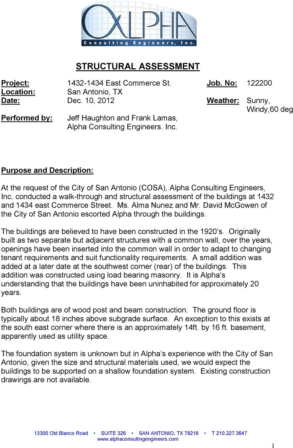 Purpose and Description: At the request of the City of San Antonio (COSA), Alpha Consulting Engineers, Inc.
