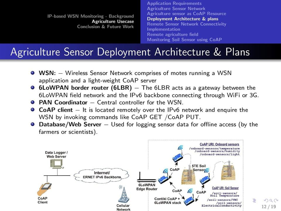 border router (6LBR) The 6LBR acts as a gateway between the 6LoWPAN field network and the IPv6 backbone connecting through WiFi or 3G. PAN Coordinator Central controller for the WSN.