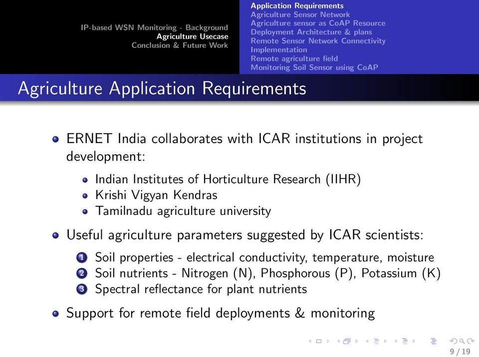 Horticulture Research (IIHR) Krishi Vigyan Kendras Tamilnadu agriculture university Useful agriculture parameters suggested by ICAR scientists: 1 Soil properties - electrical