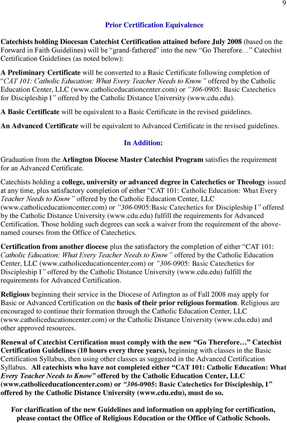 Teacher Needs to Know offered by the Catholic Education Center, LLC (www.catholiceducationcenter.