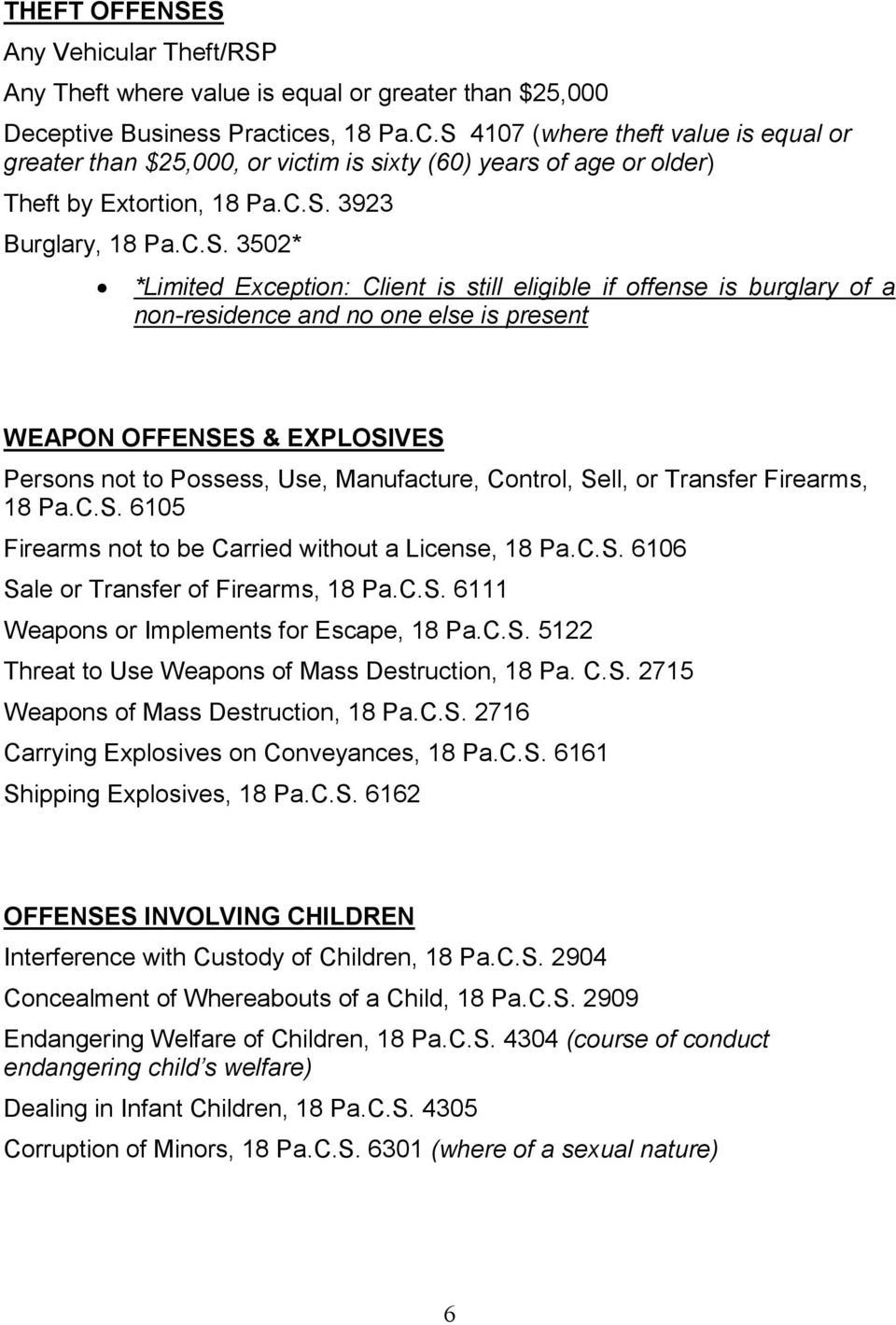 still eligible if offense is burglary of a non-residence and no one else is present WEAPON OFFENSES & EXPLOSIVES Persons not to Possess, Use, Manufacture, Control, Sell, or Transfer Firearms, 18 Pa.C.S. 6105 Firearms not to be Carried without a License, 18 Pa.