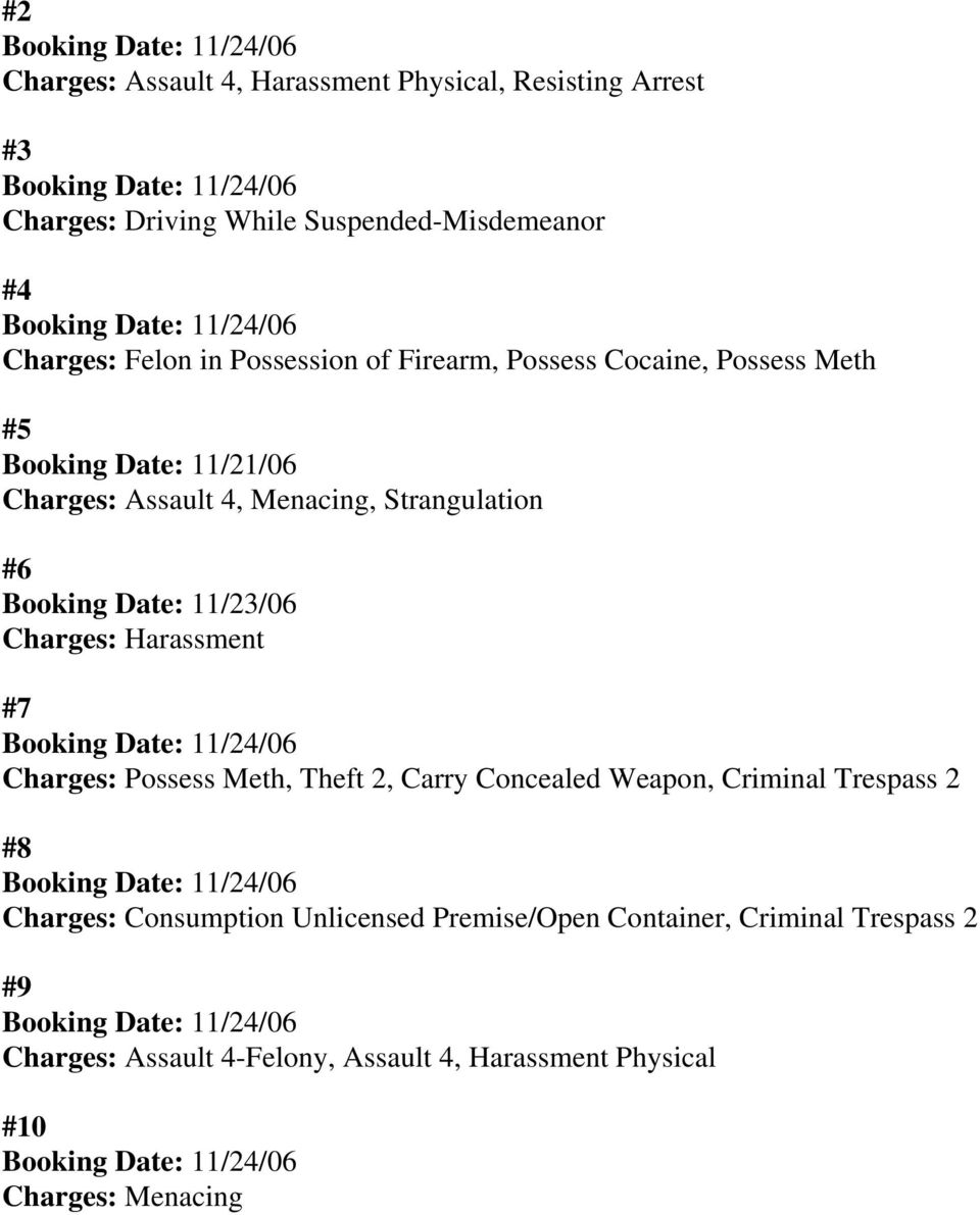Charges: Harassment #7 Charges: Possess Meth, Theft 2, Carry Concealed Weapon, Criminal Trespass 2 #8 Charges: Consumption