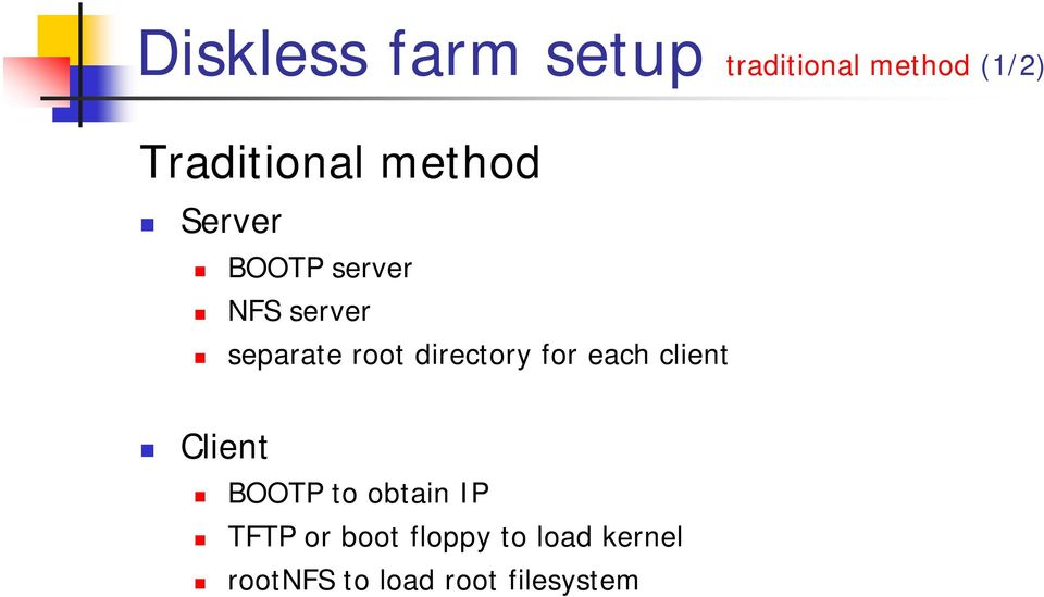 directory for each client Client BOOTP to obtain IP TFTP