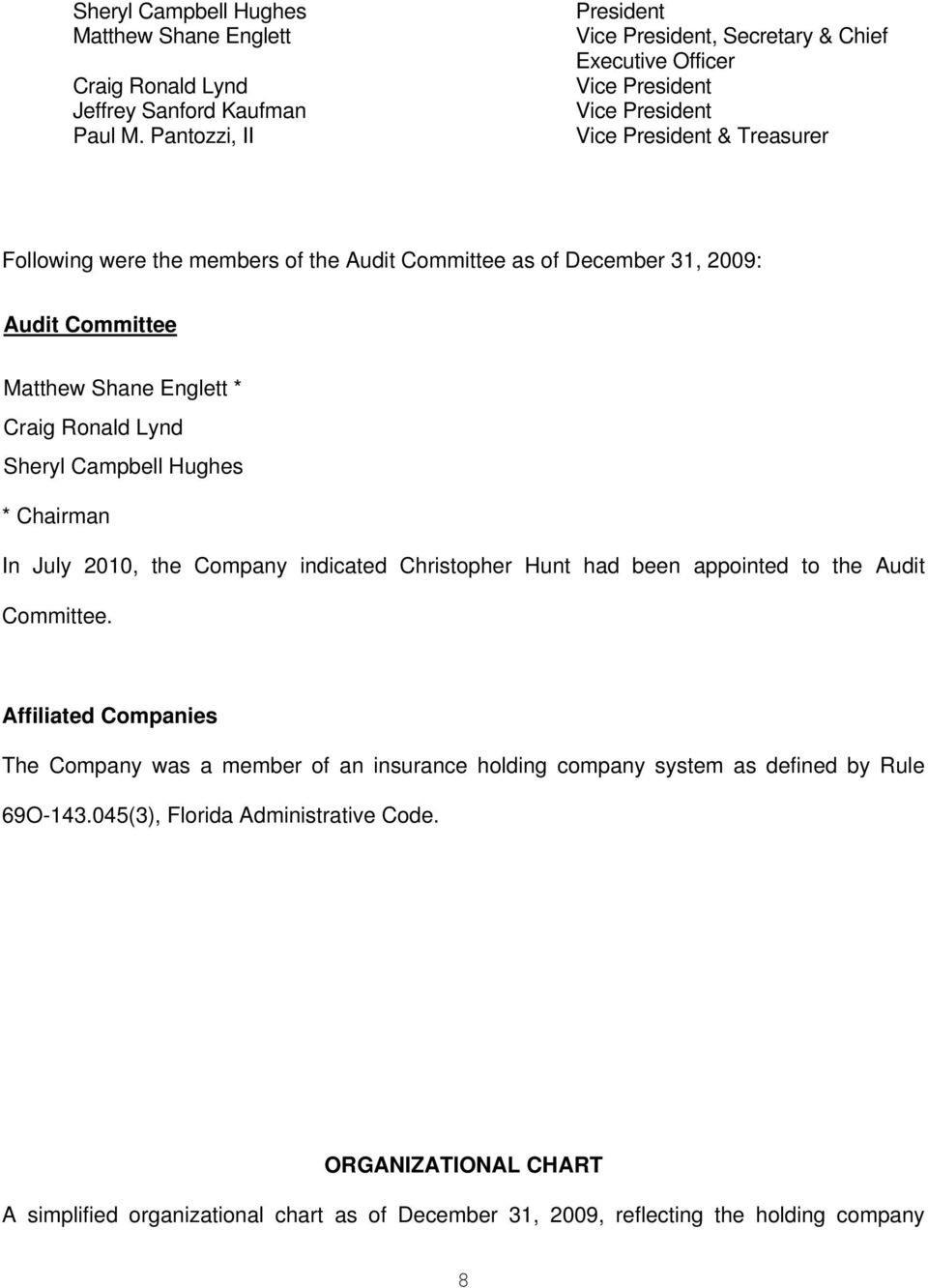 December 31, 2009: Audit Committee Matthew Shane Englett * Craig Ronald Lynd Sheryl Campbell Hughes * Chairman In July 2010, the Company indicated Christopher Hunt had been appointed to