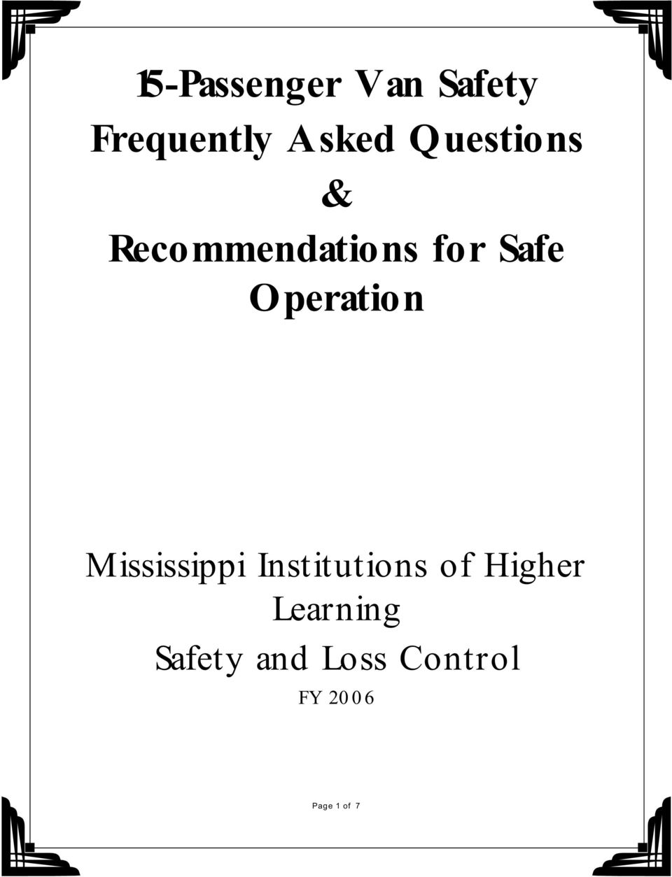 Operation Mississippi Institutions of Higher