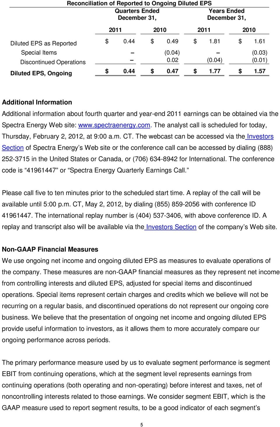 57 Additional Information Additional information about fourth quarter and year-end 2011 earnings can be obtained via the Spectra Energy Web site: www.spectraenergy.com.