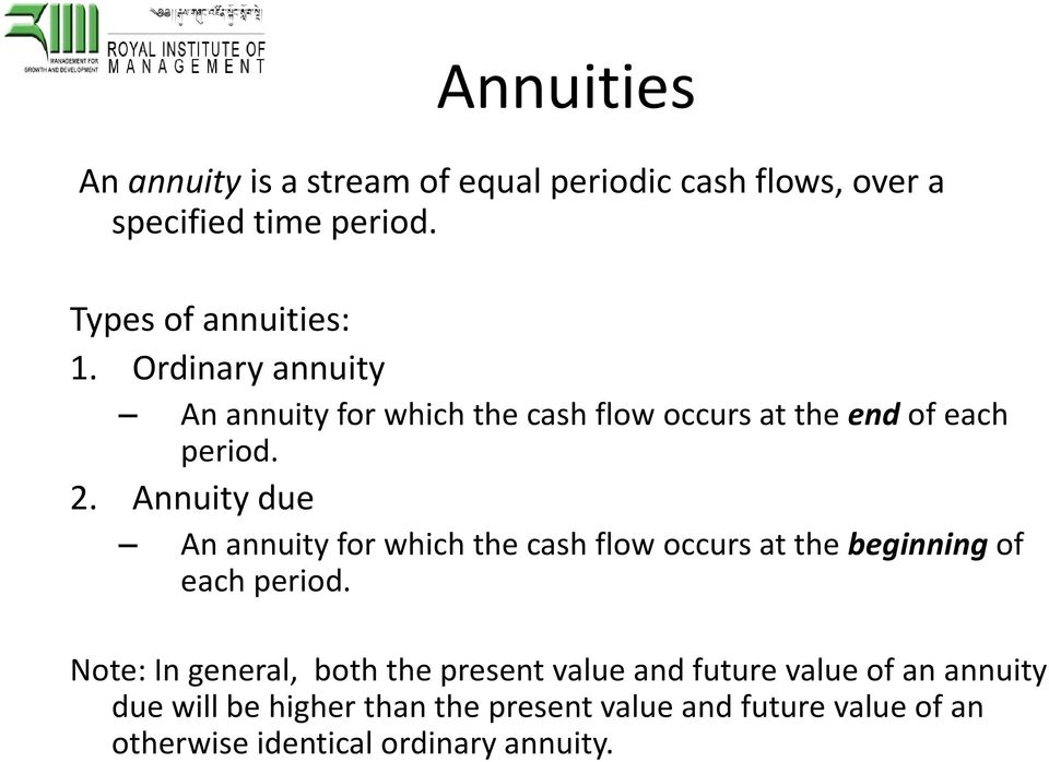 Annuity due An annuity for which the cash flow occurs at the beginningof each period.