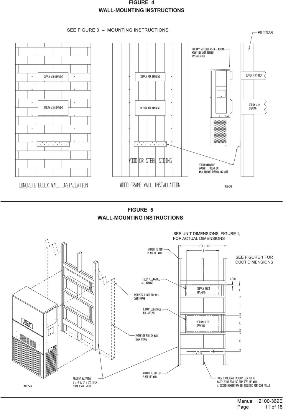 wall mounted packaged air conditioner installation instructions  models:  wa182, wa242  bard