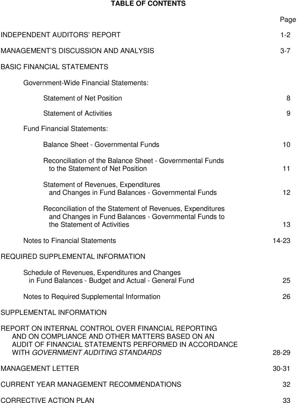 Expenditures and Changes in Fund Balances - Governmental Funds 12 Reconciliation of the Statement of Revenues, Expenditures and Changes in Fund Balances - Governmental Funds to the Statement of