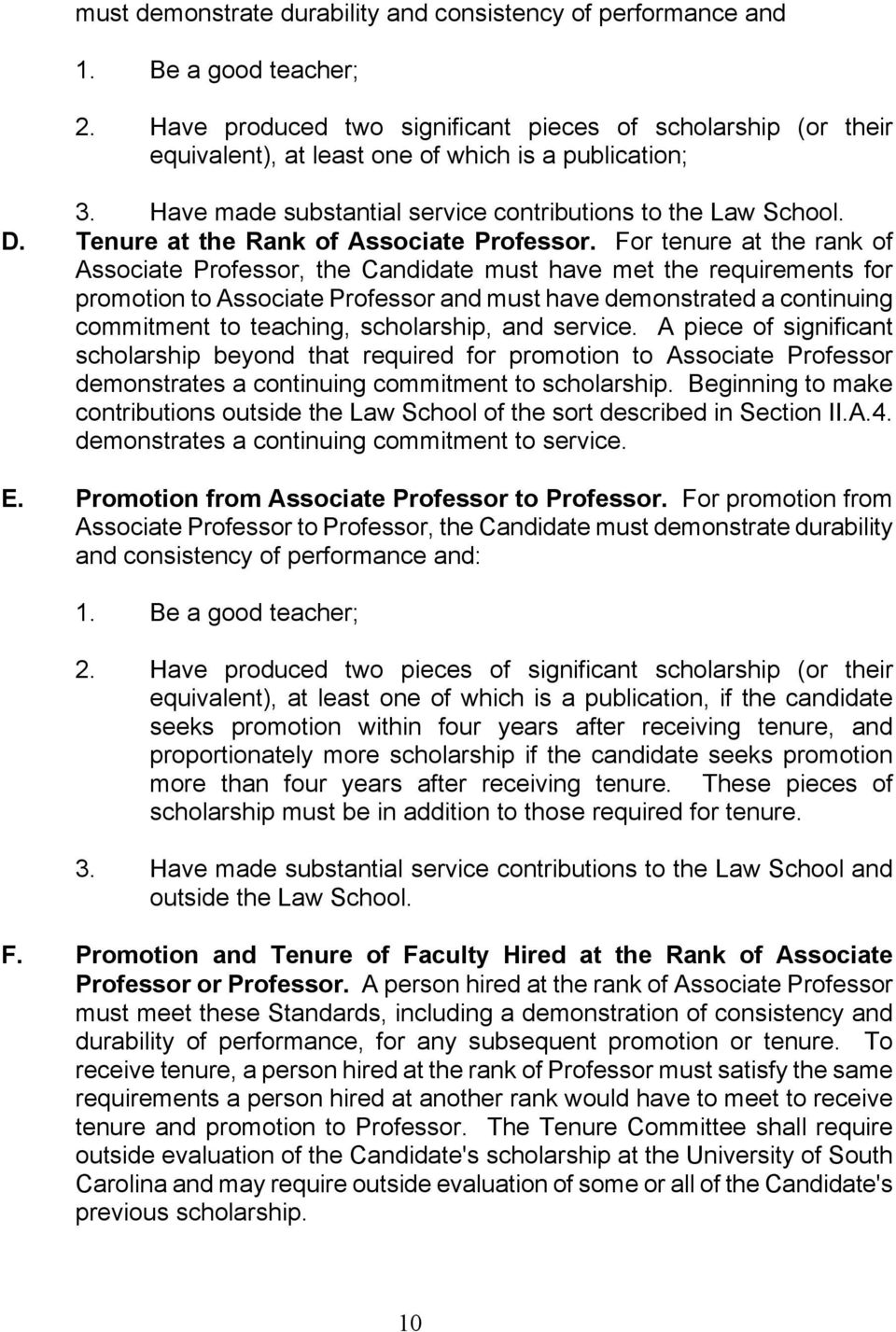 Tenure at the Rank of Associate Professor.
