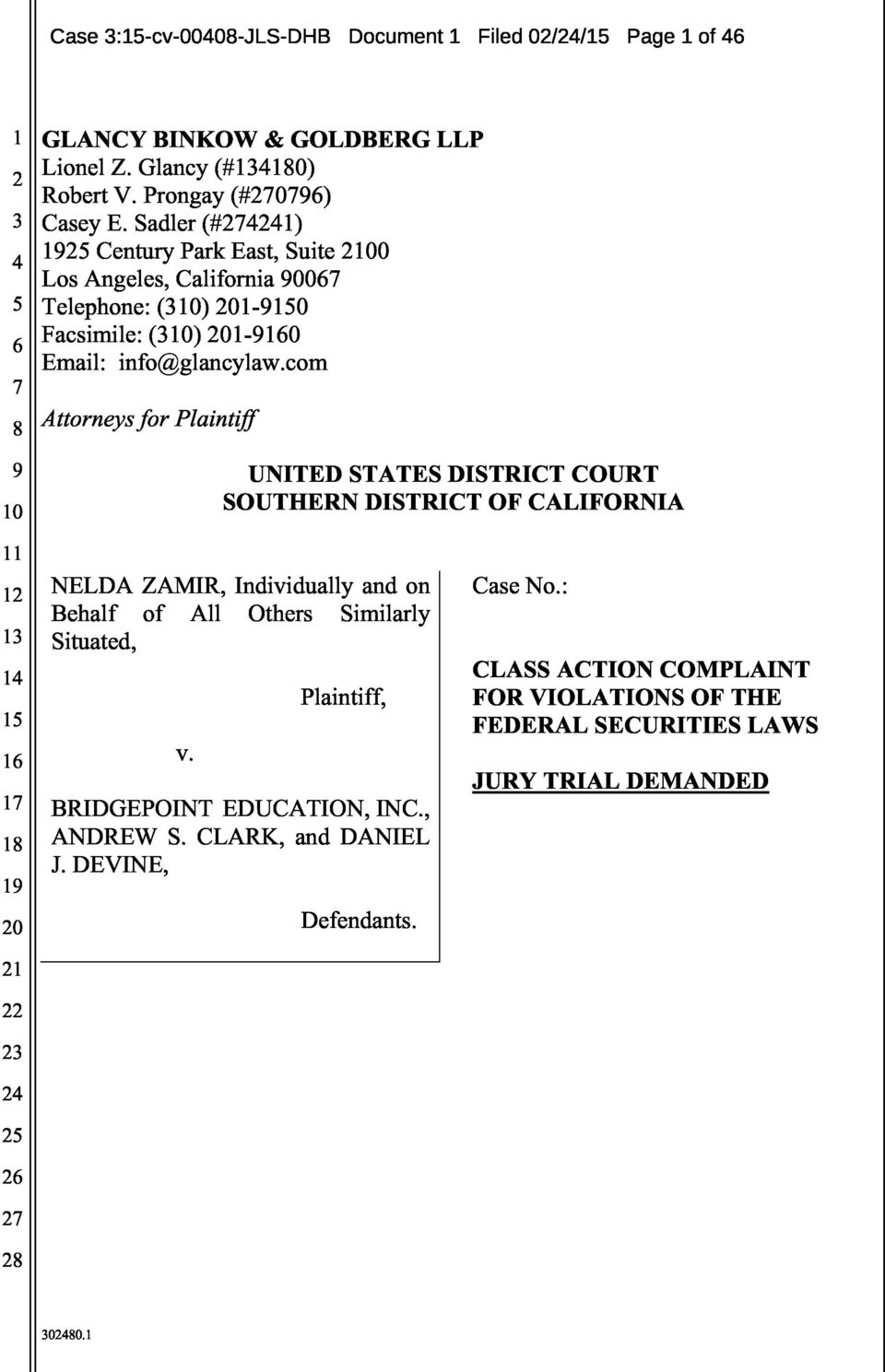 com Attorneys for Plaintiff 9 UNITED STATES DISTRICT COURT SOUTHERN DISTRICT OF CALIFORNIA 1 NELDA ZAMIR, Individually and on Case No.