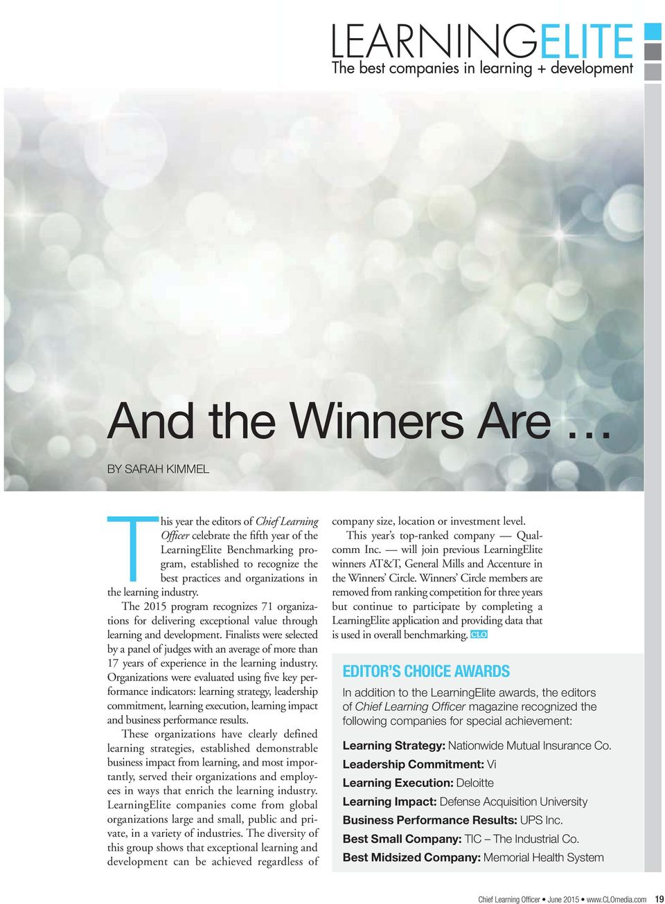 And the Winners Are EDITOR S CHOICE AWARDS BY SARAH KIMMEL - PDF