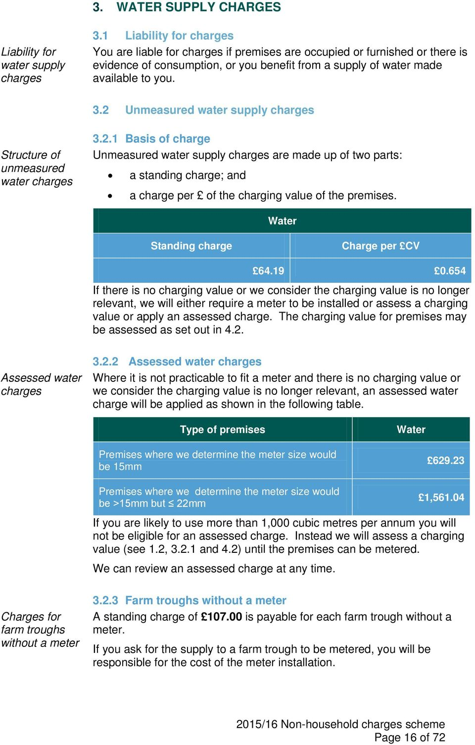 2 Unmeasured water supply charges Structure of unmeasured water charges 3.2.1 Basis of charge Unmeasured water supply charges are made up of two parts: a standing charge; and a charge per of the charging value of the premises.