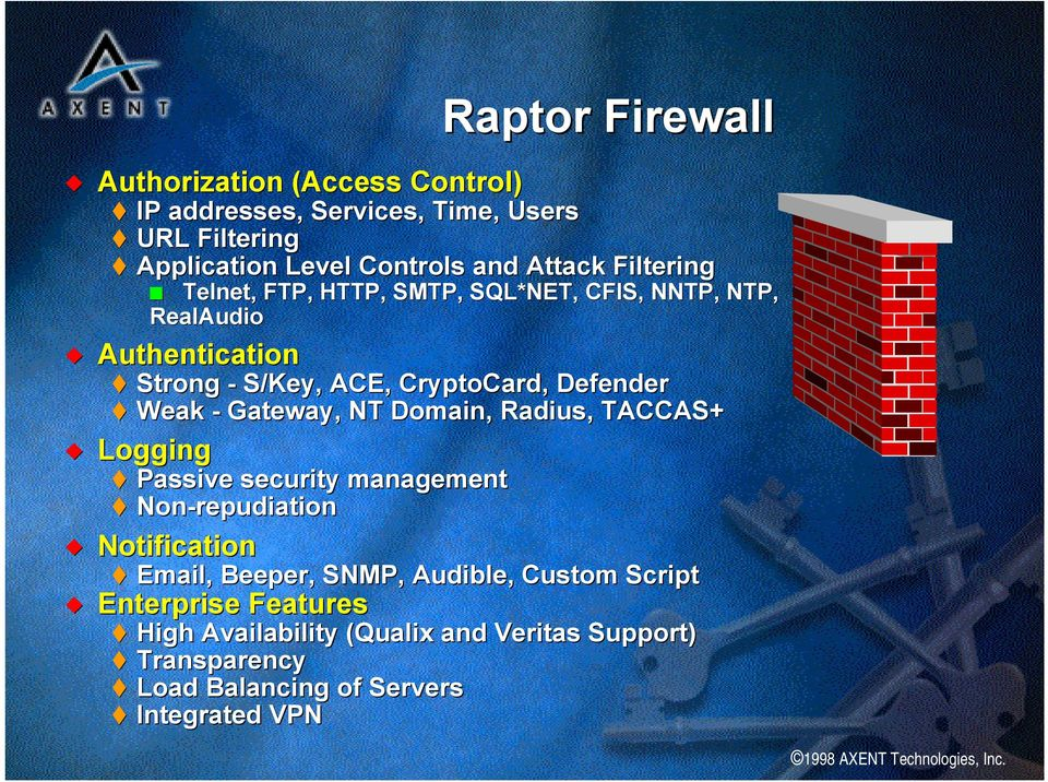 Defender Weak - Gateway, NT Domain, Radius, TACCAS+ Logging Passive security management Non-repudiation Notification Email, Beeper,