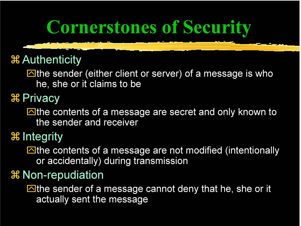 receiver Integrity the contents of a message are not modified (intentionally or accidentally) during